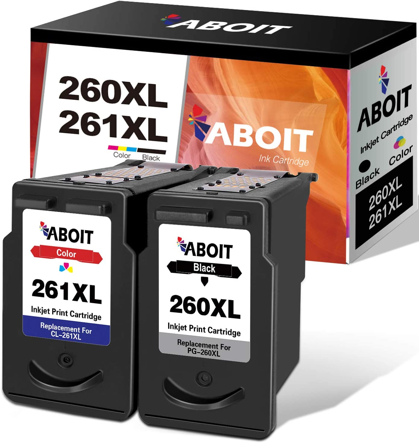 ABOIT Remanufactured Ink Cartridge Replacement for Canon 260XL 261XL 260 XL 261 XL PG-260 XL CL-261 XL Ink with Canon TS5320 TS6420 TR7020 All in One Wireless Printer Tray (2 Pack)