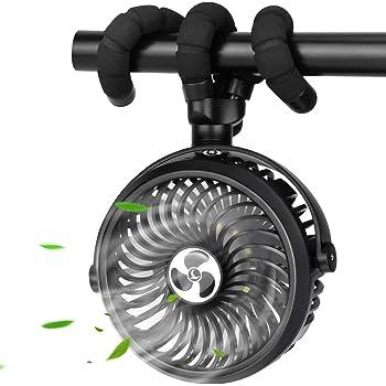 TDONE Stroller Fan Mini Portable Fan USB Personal Fan Long Working Handheld Fan 12pcs LED Camping Fan Batterry Operated Fan Clip on Fan for Stroller Travel