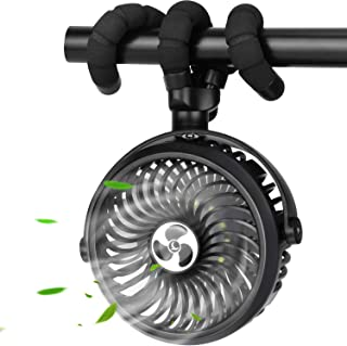 TDONE Stroller Fan Mini Portable Fan USB Personal Fan Long Working Handheld Fan 12pcs LED Camping Fan Batterry Operated Fa...