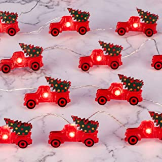 Impress Life Christmas Tree Farmhouse Truck String Lights Decoration, 10ft 30 LEDs, Battery USB Plug-in Powered with Remot...