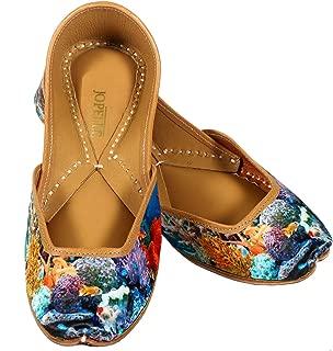 JOPELLE Aquarium Style Handcrafted Leather Hand-Embroidered Punjabi Juttis Mojari for Women
