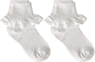 Little Girls' Eyelet Lace Trim Cotton Turn Cuff Socks, Pack of 2