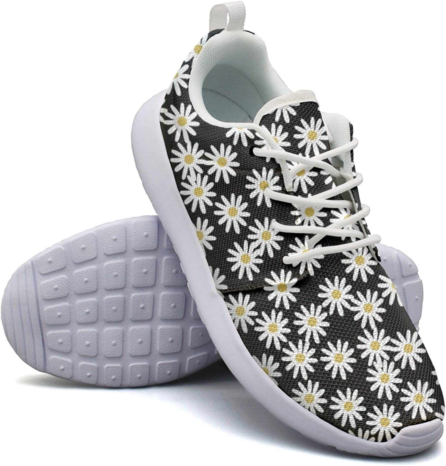 New Daisy On Black Background Attractive Women Navy Running shoes