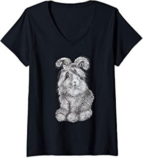 Womens Fluffy Angora Bunny Rabbit V-Neck T-Shirt
