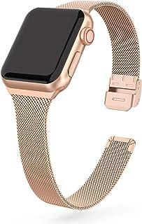 EDIMENS Metalowy pasek kompatybilny z Apple Watch 38 mm, 40 mm, 42 mm, 44 mm, stal nierdzewna, mały zamiennik kompatybilny...