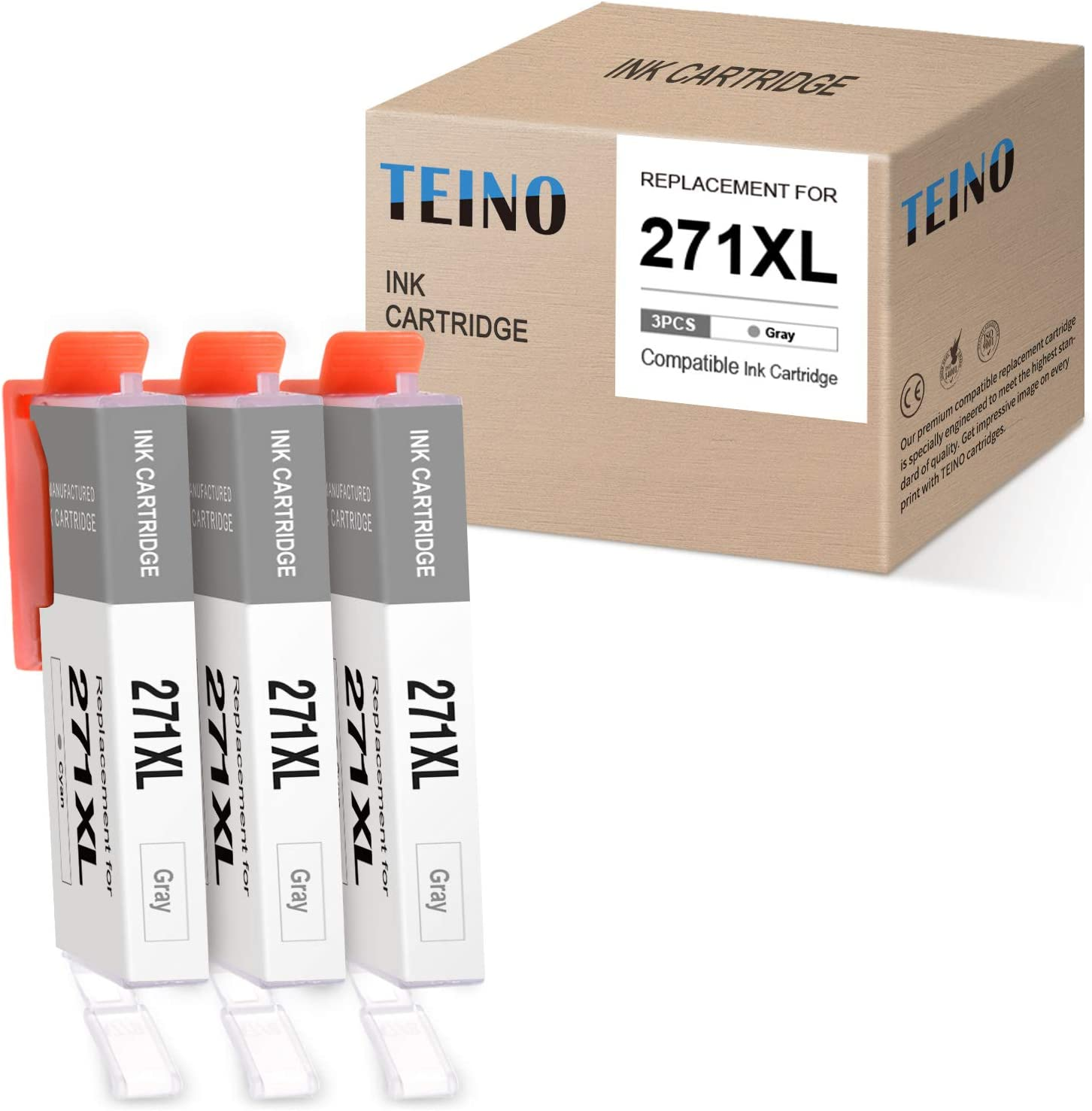 TEINO Compatible Ink Cartridge Replacement for Canon CLI-271XL CLI 271 XL use with Canon PIXIMA MG6821 MG7720 TS6020 TS5020 TS9020 MG6820 MG5720 TS8020 MG5722 MG5721 MG6822 (Gray, 3-Pack)