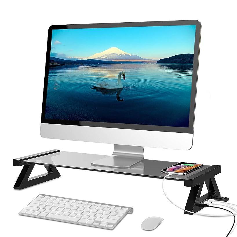 部長々とフェンスOrader モニタースタンド 机上台 モニター台 ノートパソコン用ラップデスク キーボード収納 ペンタブレット収納 工具不要で組み立てる USBポート付き グレーガラス製 デスクトップ収納 耐荷重60KgUSBケーブル付属