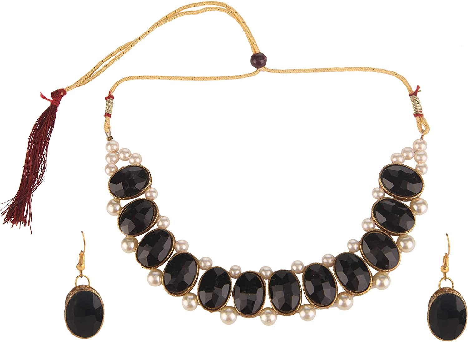 Efulgenz Fashion Chunky Faux Pearl Crystal Gold Plated Statement Choker Necklace Earrings Costume Jewelry Set (Color Options)