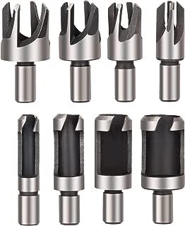 Rocaris 8pcs Wood Plug Cutter Drill Bit Set Straight and Tapered Taper 5/8