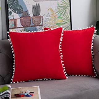 Best WLNUI Set of 2 Soft Velvet Valentines Day Red Pillow Covers 18x18 Inch Square Decorative Cute Pom Poms Throw Pillow Covers Cushion Case for Sofa Couch Home Farmhouse Decor Review
