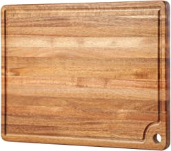 Large Acacia Wood Cutting Board for Kitchen - Caperci Better Chopping Board with Juice Groove & Handle Hole for Meat (er B...