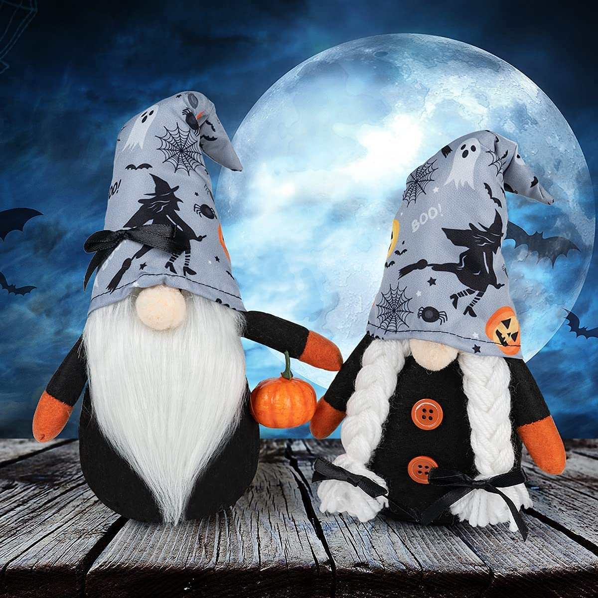 Docuwee 2 PCS Halloween Gnome Doll, Handmade Plush Small Gnomes Ornaments Faceless Accessories Plush Standing Dolls, Small Gnome Spring Decor Household Holiday Decoration Toys Gifts