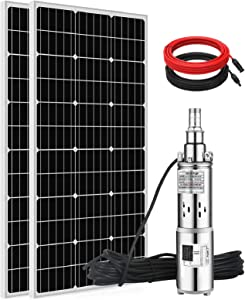 ECO-WORTHY Solar Power Water Pump System, 24V 3'' Solar Deep Well Pump with 200W Solar Panel and 16ft Extension Cable for Remote Watering, Garden, Farm Irrigation, Tank Filling…