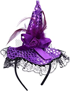 Tinksky Children Halloween Headband Feather Party Witch Hat for Costume Dress up Party Performance Supplies Halloween Costumes (Purple)