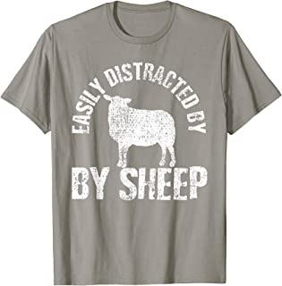 Easily Distracted By Sheep Farm Animal Vintage Gift T-Shirt