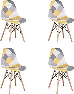N/A conjunto con 4 sillas de comedor de estilo moderno patchwork en estilo nórdico tapizado con tela patchwork y silla de marco de madera en estilo escandinavo (amarillo)