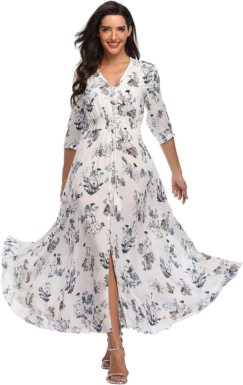 Summer Floral Print Maxi Dress Women Philadelphia Mall Split Button Long Flowy Up Wholesale
