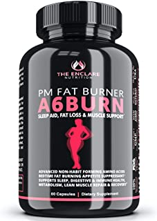 ENCLARE A6BURN Advanced Bedtime Weight Loss Supplement, Night Time Diet Pills, Burn Belly Fat, Lose Weight, PM Fat Burner,...