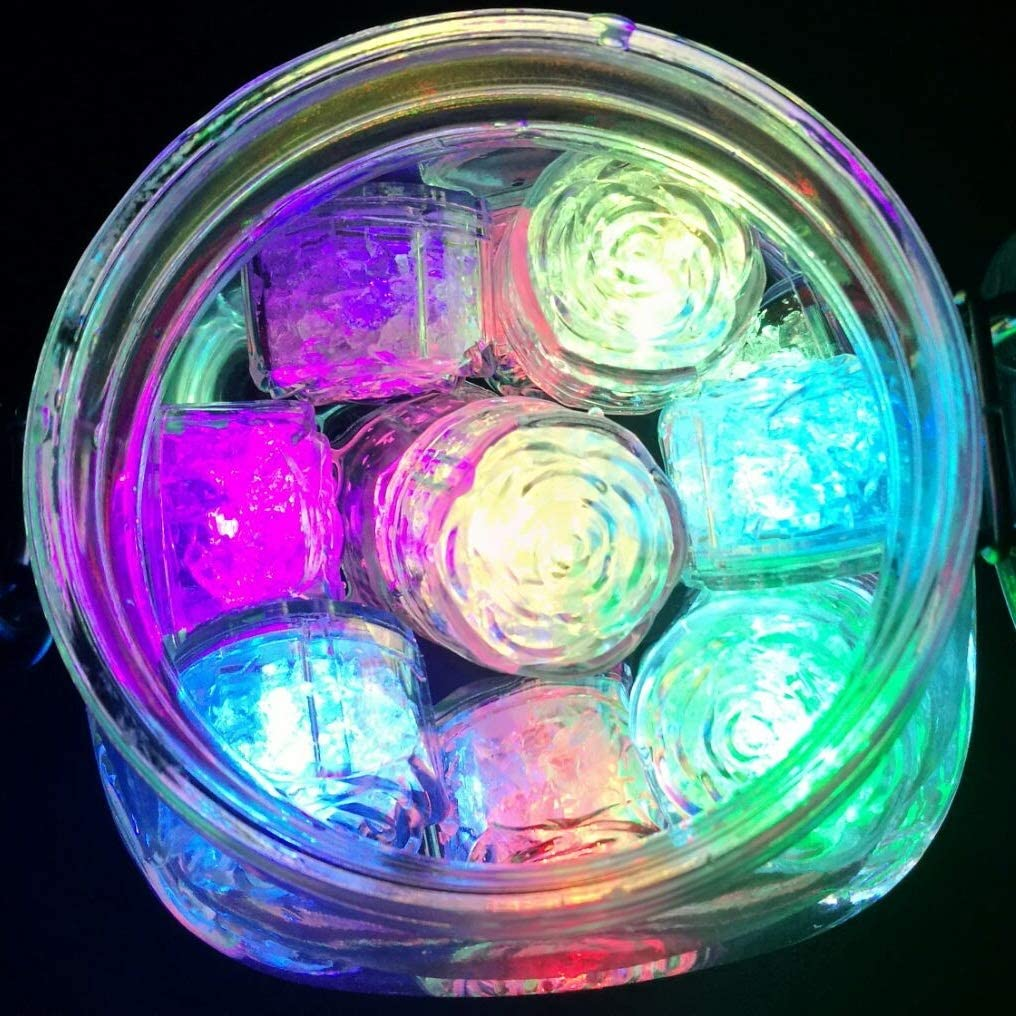 Red Multi-Color Flashing Glow in The Dark LED Light Up Ice Cube Molds for Party Wedding Bars Christmas Aquarium Vase Bathtub Event Party Decoration M.best 12pcs LED Ice Cube
