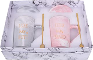 I Like His Beard I Like Her Butt Mug Couples Coffee Mugs Wedding Engagement Valentines Day Gifts for Him and Her Bride and...