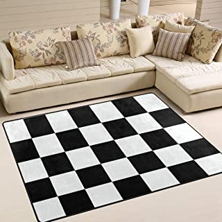 Area Rugs Checkerboard Black White Pattern Square Chess Indoor/Outdoor Floor Mat Livingroom Bedroom Sofa Carpet Non Slip Home Hotel Large Custom Area Rug Mat 6.67'x4.83'
