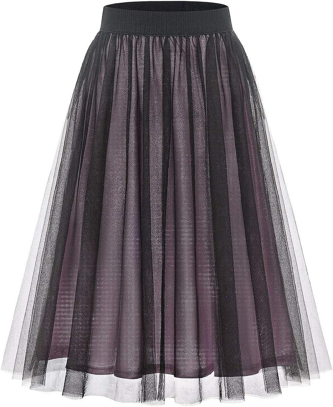 Bridesmay Women's Shinny 2-Layered Tulle Skirt Knee Length Evening Christmas Party Petticoat Tutu Skirt