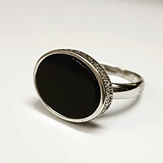 silver ring with black stone for men