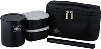 和平フレイズ 弁当箱 ごはん おかず フォルテック・ランチ 640ml ブラック スリムタイプ 保温 ケース付 FLR-8161