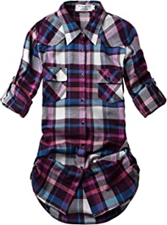 Women's Long Sleeve Flannel Plaid Shirt
