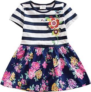 JUXINSU Girl Short Sleeved Dress for Kids Baby Summer Cotton Flower Stripes for 3-8 Years SH5908