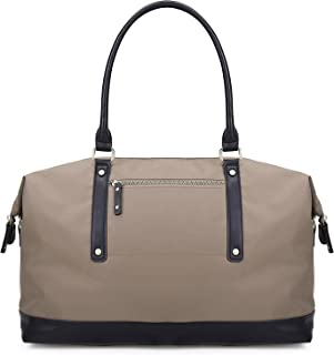 ECOSUSI Duffel Bag Weekender Overnight Bag Large Travel Tote Shoulder Bag with Trolley Sleeve for Men & Women, Beige