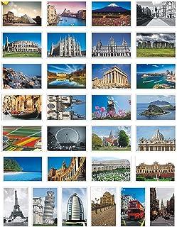 Juego de 30 tarjetas postales para tarjetas de felicitación, diseño de ciudad famosa, paisaje, paisaje, tarjetas postales en blanco (blanco 01)