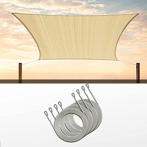 lowest ColourTree 14' x 16' wholesale Beige popular Sun Shade Sail with 48 Feet (12ft x 4) PVC Coated Stainless Steel Metal Wire Cable Ropes online sale