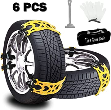 Buyplus Snow Tire Chains for Cars - 6 Sets Adjustable Anti Slip Emergency Tire Straps, Cars/SUV/Truck/ATV Winter Wheel Chains, Security Blocks for Vehicle: image