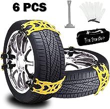 Buyplus Snow Tire Chains for Cars - 6 Sets Adjustable Anti Slip Emergency Tire Straps, Cars/SUV/Truck/ATV Winter Wheel Cha...