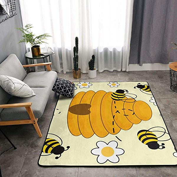YOUNG H0ME Bedroom Living Room Kitchen Queen Size Kitchen Rugs Home Decor Bumblebee Hive Yellow Floor Mat Doormats Quick Dry Throw Bath Rugs Exercise Mat Throw Rugs Runner