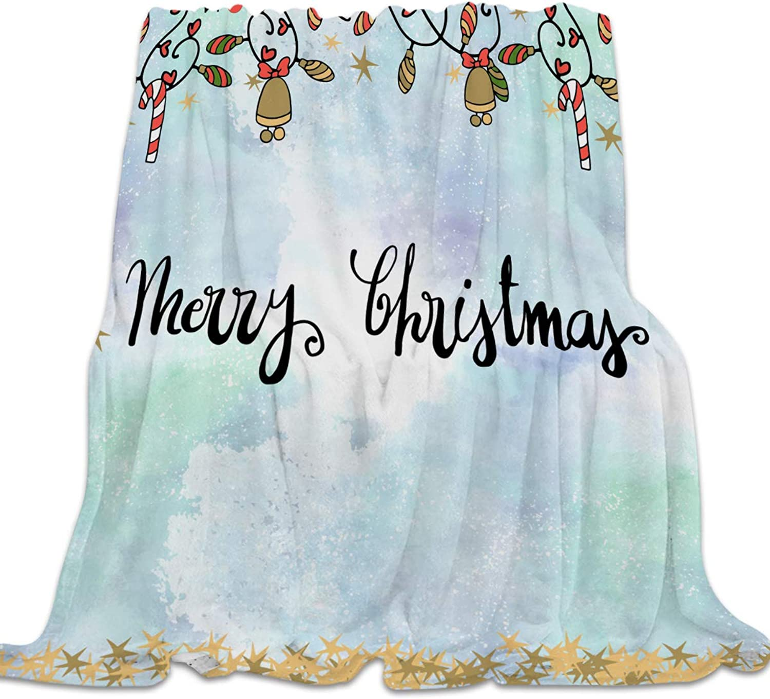 YEHO Art Gallery Flannel Fleece Bed Blanket Super Soft Cozy ThrowBlankets for Kids Girls Boys,Lightweight Blankets for Bed Sofa Couch Chair Day Nap,Merry Christmas Jingling Bell Pattern,49x59inch