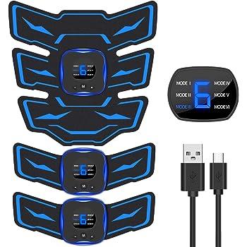 EMSIC EMS 腹筋ベルト 液晶表示 USB充電式 腹筋 腕筋 筋トレ器具 トレーニングマシーン 「6種類モード 9段階強度 日本語説明書付属」