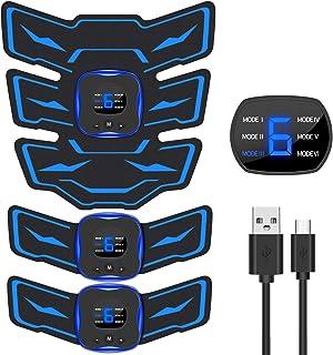 EMSIC EMS 腹筋ベルト 液晶表示 USB充電式 腹筋 腕筋 筋トレ器具 トレーニングマシーン 「6種類モード 9段階強度 日本語説明書付属」...