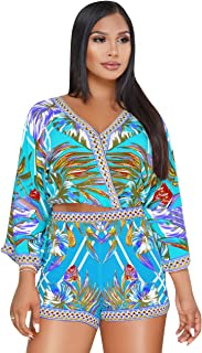 Sexy Two Piece Shorts Set - African Floral Jumpsuits Rompers Vacation Club Outfit