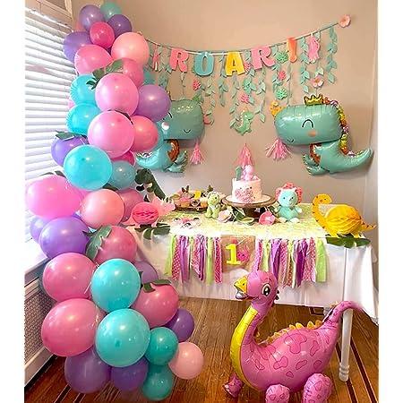 Heboland Dinosaurier Geburtstag Mädchen Ballon Girlande Ballonbogen Kit 5m Lange 102 Stücke Folien Dinosaurier Rosarot Lila Tiffany Rosa Ballons Für Kinder Baby Party Deko Spielzeug