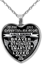 Design Time Gifts to Our Daughter - Love mom and dad - Always Remember Quote Heart Pendant Necklace Silver
