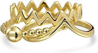 Geometric V Chevron Zig Zag Ball Bead 14K Gold Plated 925 Sterling Silver Midi Knuckle Stackable Ring Set For Women 1MM