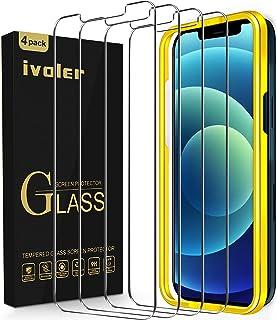ivoler [4-pack] Kompatibel med iPhone 12 / iPhone 12 Pro 6,1 tum, Härdat Glas Screen protector [Skalvänlig] [Justeringsram...