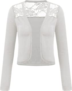 d78ad3dc92 Grabsa Women s Long Sleeve Bolero Shrug Lace Cropped Open Front Cardigan  Blazer