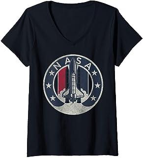 Donna NASA Rocket Launch Star Circle Maglietta con Collo a V