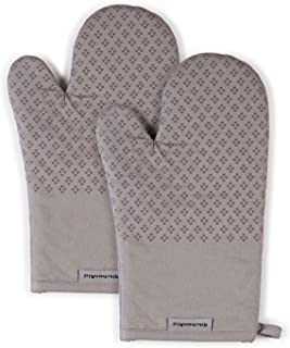 KitchenAid Asteroid Cotton Oven Mitts with Silicone Grip, Set of 2, Gray