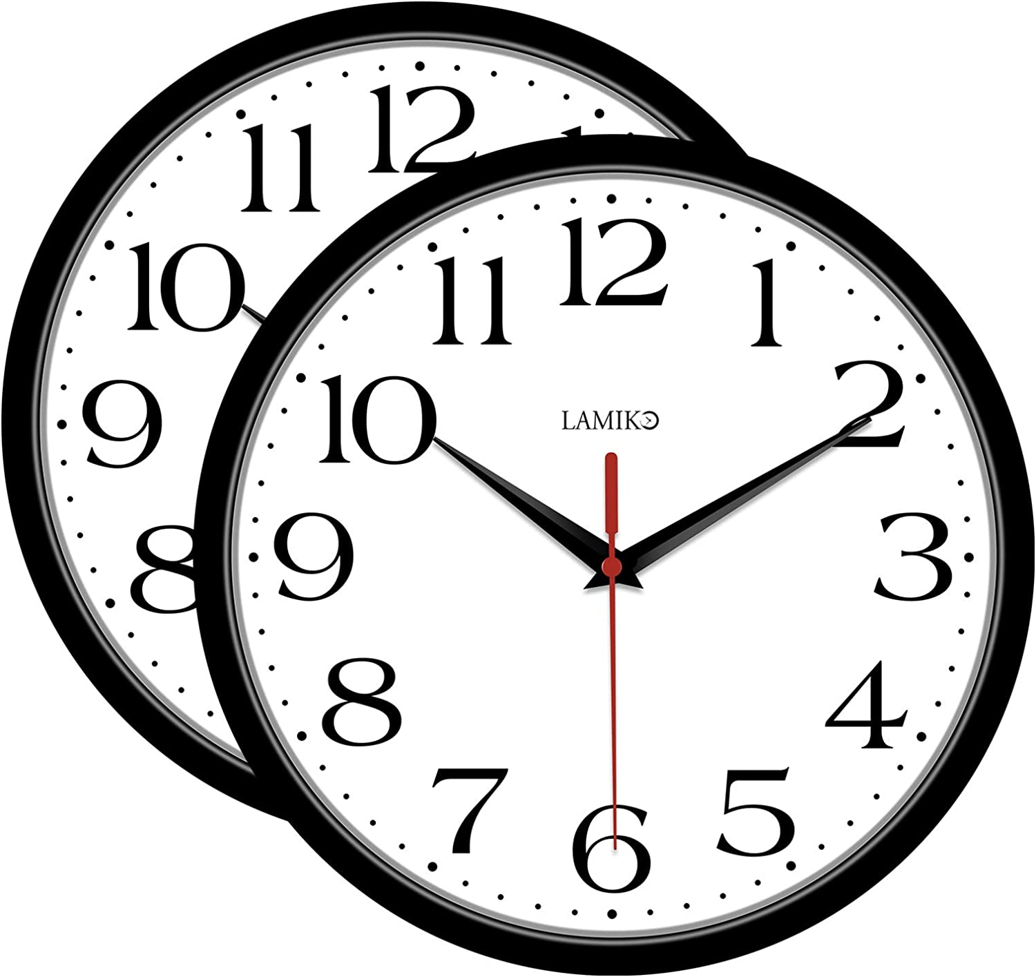 LAMIKO 2Packs Non-Ticking Wall Clocks 10 Inch Silent Battery Operated Classic Quartz Decro Clock Easy to Read for Room/Home/Kitchen/Bedroom/Office/School, Black: Kitchen & Dining