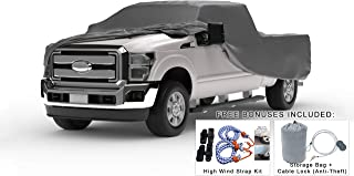 Weatherproof Truck Cover Compatible with 2011-2019 Ford F-150 Raptor Crew Cab~5.5 Ft Bed - 5L Outdoor & Indoor - Protect from Rain, Snow, Hail, Sun - Theft Cable Lock, Bag & Wind Straps