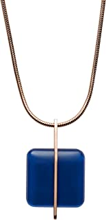 Women's Blue Sea Glass Rose Gold Tone Pendant Necklace, One Size